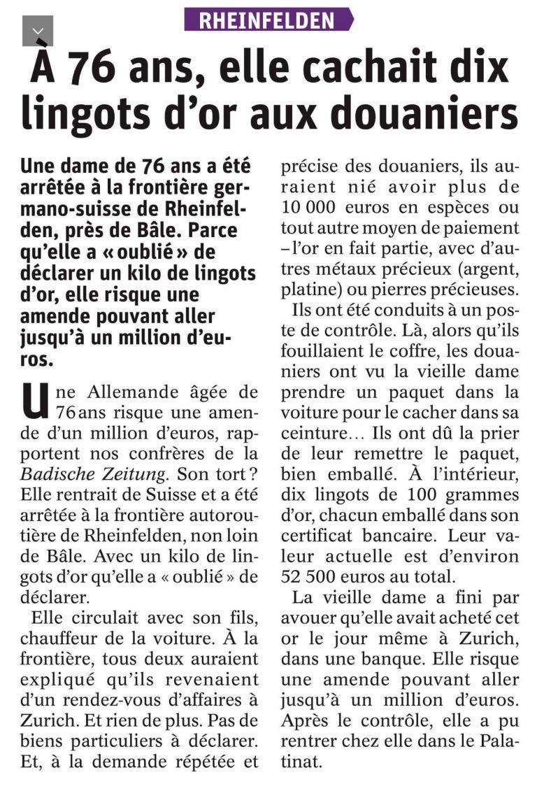 Read more about the article Transactions sur l'or et formalités