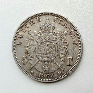 5 Francs Napoléon III tête laurée 1868 BB